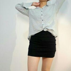 Skirt   All-black Stretchy Skirt Minimal Mini